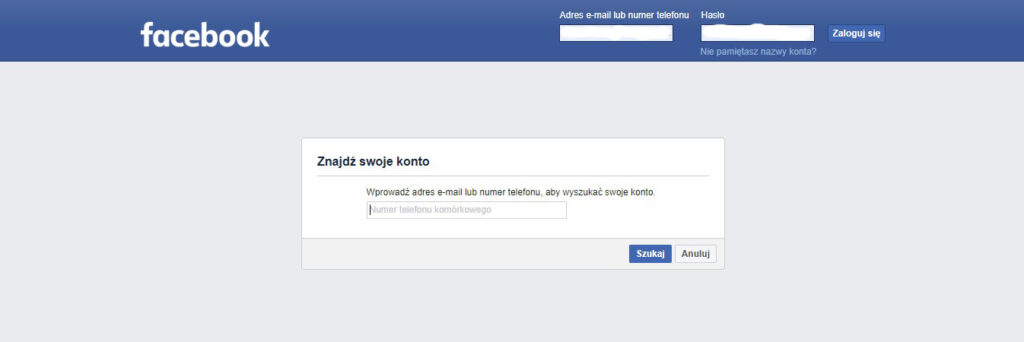 nie pamiętam hasła do facebooka